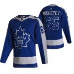Toronto Maple Leafs #65 Ilya Mikheyev Blue and Gray Adidas 2020-21 Reverse Retro Alternate NHL Jersey