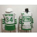 NHL Tonrto Maple Leafs #34 Auston Matthews White Green St. Pats All Stitched Hooded Sweatshirt