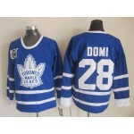 Men's Toronto Maple Leafs #28 Tie Domi Blue 75TH Throwback CCM Jersey