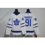 Women Tonrto Maple Leafs #91 John Tavares White Adidas Jersey