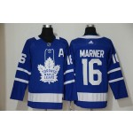 Women Tonrto Maple Leafs #16 Mitch Marner Blue with A patch Adidas Jersey