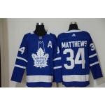 Women Tonrto Maple Leafs #34 Auston Matthews Blue with A patch Adidas Jersey