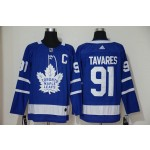 Women Tonrto Maple Leafs#91 John Tavares Blue with C patch Adidas Jersey