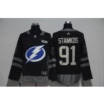 NHL Tampa Bay Lighting #91 Steven Stamkos Black 100th Centennal Classic Premier Jersey