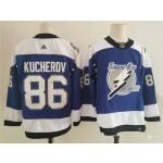 Tampa Bay Lightning #86 Nikita Kucherov Blue Men's Adidas 2020-21 Reverse Retro Alternate NHL Jersey