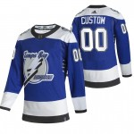 Tampa Bay Lightning Custom Blue Men's Adidas 2020-21 Reverse Retro Alternate Player NHL Jersey (Name and number remark in comment column)