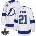 Tampa Bay Lightning #21 Brayden Point White Road Authentic 2021 NHL Stanley Cup Final Patch Jersey