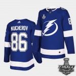 Tampa Bay Lightning #86 Nikita Kucherov Blue Home Authentic 2021 NHL Stanley Cup Final Patch Jersey