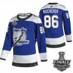Tampa Bay Lightning #86 Nikita Kucherov Blue Road Authentic 2021 NHL Stanley Cup Final Patch Reverse Retro Jersey