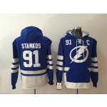 NHL Tampa Bay Lighting #91 Steven Stamkos Blue All Stitched Hooded Sweatshirt