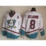 NHL Throwback Anaheim Ducks Teemu Selanne #8 White 1990's Home Jersey