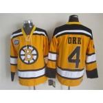 NHL Boston Bruins #4 Bobby Orr Yellow Throwback Jersey