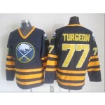 Men's Buffalo Sabres #77 Pierre Turgeon Navy Blue CCM Vintage Throwback Jersey