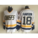 Men's Charlestown Chiefs #18 Jeff Hanson White Throwback CCM Jersey
