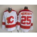 Men's Calgary Flames #25 Joe Nieuwendyk White Throwback CCM Jersey