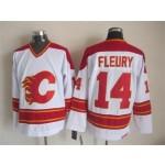 Men's Calgary Flames #14 Theoren Fleury White Throwback CCM Jersey