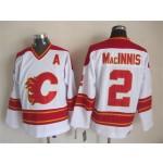 Men's Calgary Flames #2 Al MacInnis White Throwback CCM Jersey