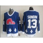 Men's Quebec Nordiques #13 Mats Sundin Blue Throwback CCM Jersey