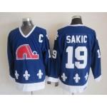 Men's Quebec Nordiques #19 Joe Sakic Blue Throwback CCM Jersey