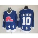 Men's Quebec Nordiques #10 Guy Lafleur Blue Throwback CCM Jersey