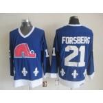 Men's Quebec Nordiques #21 Peter Forsberg Blue Throwback CCM Jersey