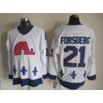 Men's Quebec Nordiques #21 Peter Forsberg White Throwback CCM Jersey