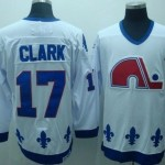 Men's Quebec Nordiques #17 Wendel Clark White Throwback CCM Jersey