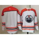 Edmonton Oilers Blank White Men's Adidas 2020-21 Reverse Retro Alternate NHL Jersey
