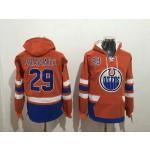 NHL Edmonton Oilers #29 Leon Draisaitl Orange All Stitched Hooded Sweatshirt