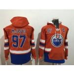 NHL Edmonton Oilers #97 Connor McDavid Orange All Stitched Hooded Sweatshirt