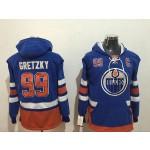 NHL Edmonton Oilers #99 Wayne Gretzky Blue All Stitched Hooded Sweatshirt