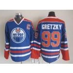 Men's Edmonton Oilers #99 Wayne Gretzky Blue Throwback CCM Jersey