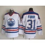 Men's Edmonton Oilers #31 Grant Fuhr White Throwback CCM Jersey