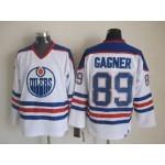 Men's Edmonton Oilers #89 Sam Gagner White Blue Throwback CCM Jersey