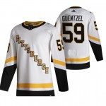 Pittsburgh Penguins #59 Jake Guentzel White Men's Adidas 2020-21 Reverse Retro Alternate NHL Jersey