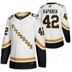 Men's Pittsburgh Penguins #42 Kasperi Kapanen White 2020-21 Reverse Retro Jersey