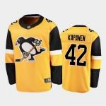 Men's Pittsburgh Penguins #42 Kasperi Kapanen Yellow Stitched NHL Jersey