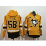 NHL Pittsburgh Penguins #58 Kris Letang Yellow All Stitched Hooded Sweatshirt