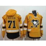NHL Pittsburgh Penguins #71 Evgeni Malkin Yellow All Stitched Hooded Sweatshirt