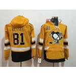 NHL Pittsburgh Penguins #81 Phil Kessel Yellow All Stitched Hooded Sweatshirt