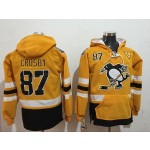 NHL Pittsburgh Penguins #87 Sidney Crosby Yellow All Stitched Hooded Sweatshirt