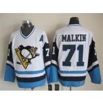 Men's Pittsburgh Penguins #71 Evgeni Malkin 1972 White With Light Blue CCM Throwback Jersey