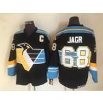 Men's Pittsburgh Penguins #68 Jaromir Jagr Black With Blue Throwback CCM Jersey