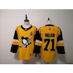 Women Pittsburgh Penguins #71 Evgeni Malkin Yellow Adidas jersey
