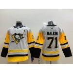 Youth Pittsburgh Penguins #71 Evgeni Malkin White Adidas Jersey