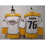 Women Nashville Predators #76 P.K Subban White Adidas Jersey