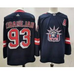 New York Rangers #93 Mika Zibanejad Navy Men's Adidas 2020-21 Reverse Retro Alternate NHL Jersey