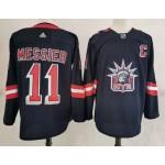 New York Rangers #11 Mark Messier Navy Men's Adidas 2020-21 Reverse Retro Alternate NHL Jersey