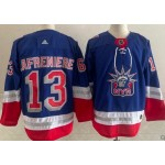 New York Rangers #13 Alexis Lafreniere Blue Men's Adidas 2020-21 Reverse Retro Alternate NHL Jersey
