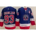 New York Rangers #93 Mika Zibanejad Blue Men's Adidas 2020-21 Reverse Retro Alternate NHL Jersey
